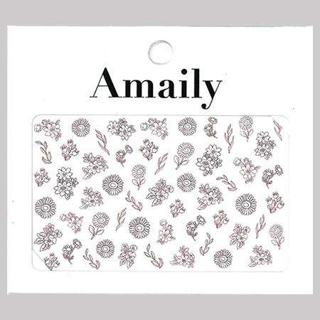Amaily 네일 스티커 NO.3-27 팬시플라워(화이트)
