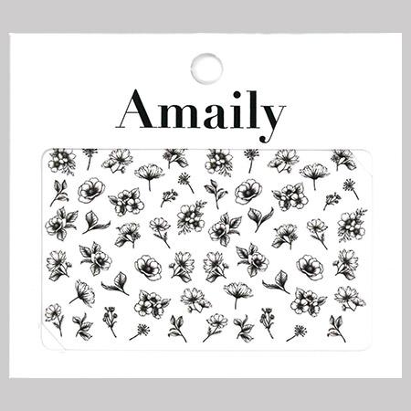 Amaily 네일 스티커 NO.3-29 클래시컬플라워(블랙)