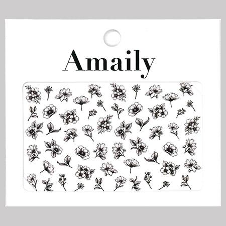 Amaily 네일 스티커 NO.3-30 클래시컬플라워(흑백)