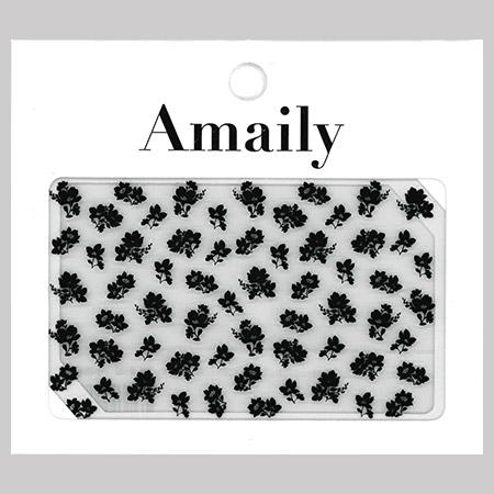 Amaily 네일 스티커 NO.3-32 작은꽃무늬(블랙)